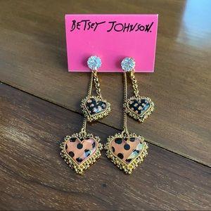 Betsey Johnson Polka Dot Dangle Heart Earrings
